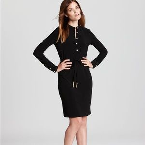 Calvin Klein long sleeve black button shirt dress